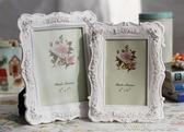 白色田園相框組合玫瑰相架創意照片框擺臺A01 簡而美