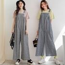 現貨-MIUSTAR 可愛日系感格子棉麻吊帶褲(共2色)【NJ1071】