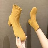 短靴短靴女2020春秋新款針織粗跟單靴方頭彈力靴百搭網紅瘦瘦靴襪靴潮 雙11 伊蘿