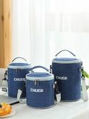 便當包圓形保溫飯盒袋保溫袋大號加厚鋁箔手提便當包上班帶飯包包保溫包