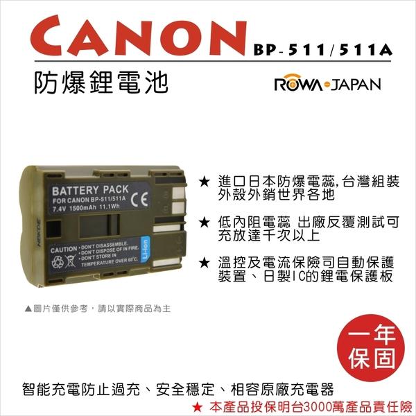ROWA 樂華 FOR CANON BP-511 BP511 電池 外銷日本 原廠充電器可用 全新 保固一年 300D 40D 5D 50D