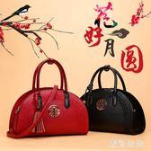 手提包 紅色新娘包新款民族風手提包結婚包繡花大包中國風單肩斜跨包 qf16307【黑色妹妹】
