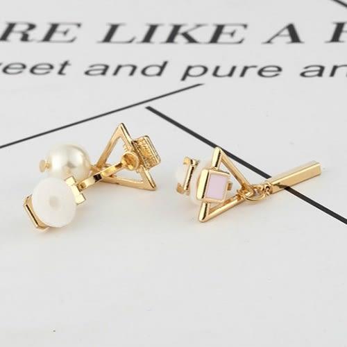 【NiNi Me】夾式耳環 氣質甜美百搭幾何不對稱三角形珍珠夾式耳環 夾式耳環 E0098