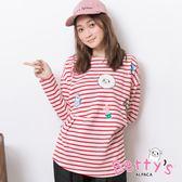 betty's貝蒂思 圓領條紋可愛印花T-shirt(紅色)