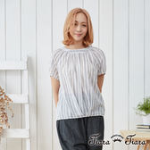 【Tiara Tiara】長短版落肩寬版抓摺綁領襯衫上衣(條紋/格紋)