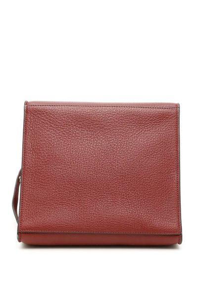 專櫃73折■Celine柔軟珠地小牛皮小型big-bag手袋,配長肩帶 淡酒紅
