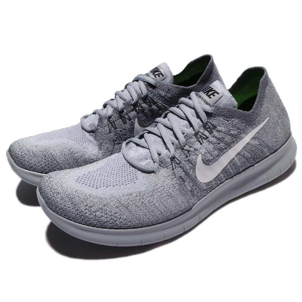 Nike 慢跑鞋 Free RN Flyknit 2017 灰 白 赤足 飛線編織 運動鞋 男鞋【PUMP306】 880843-015