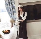 【GZ25】V領背心裙 排扣純色吊帶裙 連身裙 中長裙 洋裝
