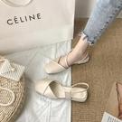 高跟2021年新款夏季中跟粗跟溫柔半包頭時裝涼鞋仙女風ins潮單鞋