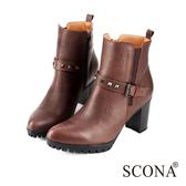 SCONA 全真皮 率性釘扣環帶高跟短靴 咖啡色 8778-2