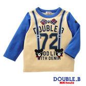 DOUBLE_B   假吊帶黑熊長袖T恤(天空藍)