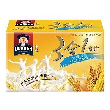 桂格三合一麥片-低糖10包入【合迷雅好物商城】