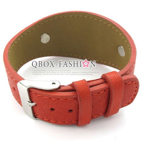 《 QBOX 》FASHION 飾品【W10022709】精緻個性立體骷顱頭316L鈦鋼皮革手鍊/手環(紅/咖啡)