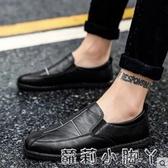 男防滑防水防臭懶人鞋韓版豆豆鞋全黑色皮鞋上班工作鞋秋季 蘿莉小腳丫