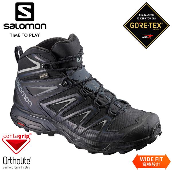 【SALOMON 索羅門 男 X ULTRA 3 GTX中筒登山鞋W《黑/墨黑/石灰》】401293/防水越野鞋/戶外健行鞋