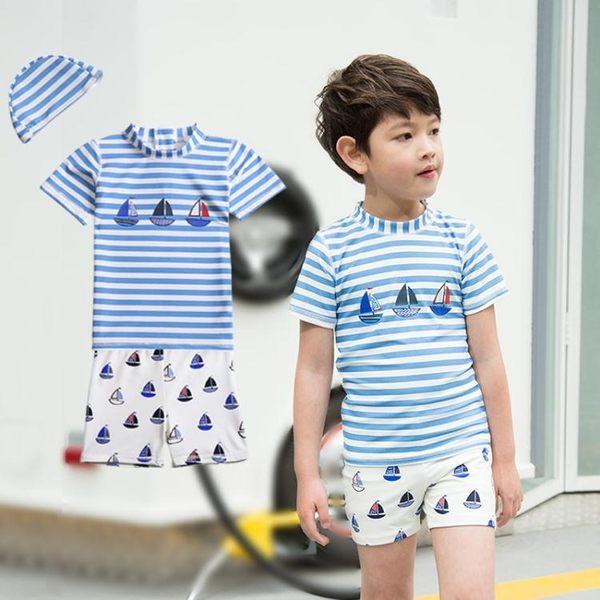 水母衣韓國兒童泳衣中大童男童分體帆船游泳褲防曬寶寶泳裝泳衣配泳帽聖誕狂歡好康八折