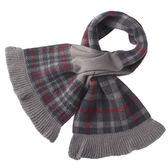 DAKS經典格紋雙面拼色羊毛圍巾(紅灰色)239337-1