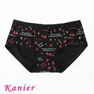 【Kanier卡妮兒】俏麗櫻桃草莓印花中腰少女三角棉內褲33687(黑L/XL)