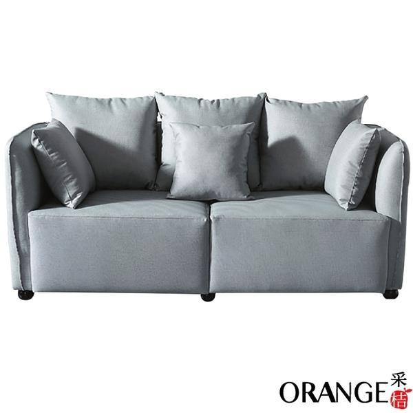 【采桔家居】吉梭爾 時尚灰耐磨皮革三人座沙發椅