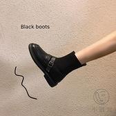 瘦瘦襪子靴小短靴春秋連襪單靴馬丁加絨彈力襪筒靴女【小酒窩服飾】