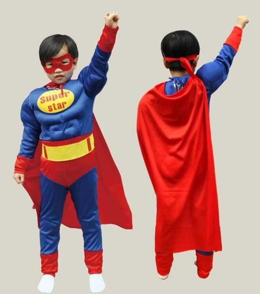 衣童趣(•‿•)萬聖節表演 聖誕節 角色扮演 超人裝 萬聖節必備 肌肉超人 兒童表演服裝 贈面罩