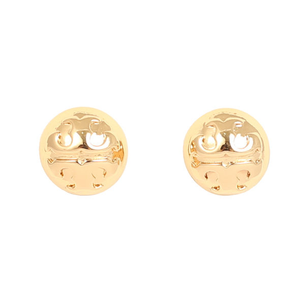 TORY BURCH 浮雕經典金屬LOGO 針式耳環(金)