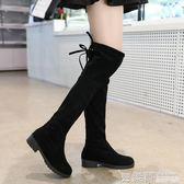 秋冬季女式長筒靴子歐美英倫時尚騎士靴圓頭中跟方跟防滑女靴