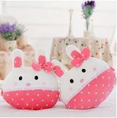 可愛萌兔汽車頭枕一對砂糖兔車載護頸枕卡通四季座椅通用車用靠枕 ( 粉色波點)