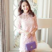 蕾絲連身裙-韓國釘珠鏤空修身包臀七分袖洋裝3色72f49[巴黎精品]