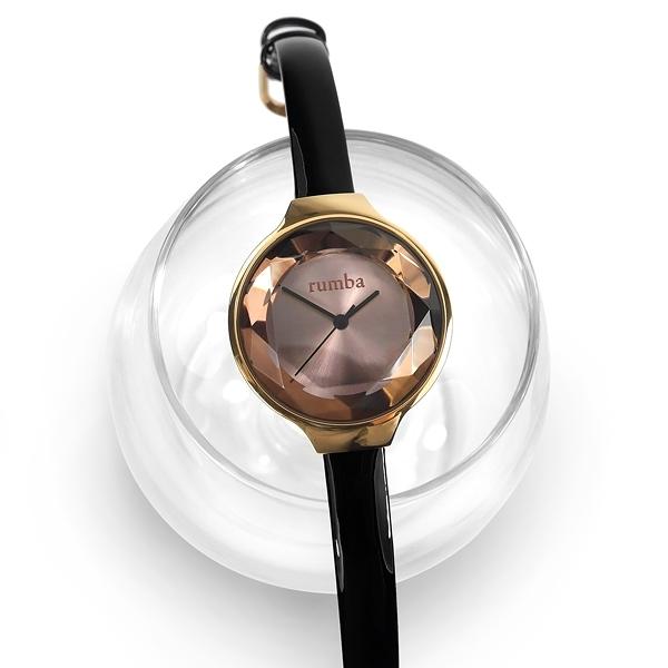 rumba time / RU28508 / Orchard Gem Leather 紐約品牌 切割玻璃鏡面 日本機芯 真皮手錶 灰x玫瑰金框x黑 30mm