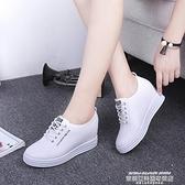 樂福鞋 2021秋季透氣新款內增高小白鞋女鞋系帶運動休閒鞋厚底單鞋樂福鞋 新品