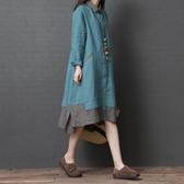 洋裝秒殺價棉麻洋裝女春秋新款寬鬆大碼不規則拼色中長款顯瘦亞麻襯衫裙子新品