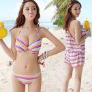 泳衣泳裝比基尼 JE 韓版三件式 彩虹泳衣 保守 顯瘦 遮肚 泳衣泳裝比基尼【99a】
