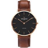 【VALENTINO 范倫鐵諾】經典皮革手錶-36mm 71418B-釘黑面玫瑰金咖啡帶