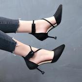 貓跟鞋時尚春秋季一字扣細跟單鞋女絨面中空高跟鞋中跟貓跟女鞋交換禮物