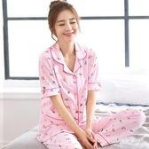 睡衣女短袖 2019韓版清新學生可外穿短袖套裝家居服薄款QW1208『夢幻家居』