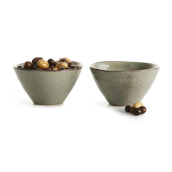 瑞典sagaform Nature瓷釉彩小餐碗(2入)-亞麻綠