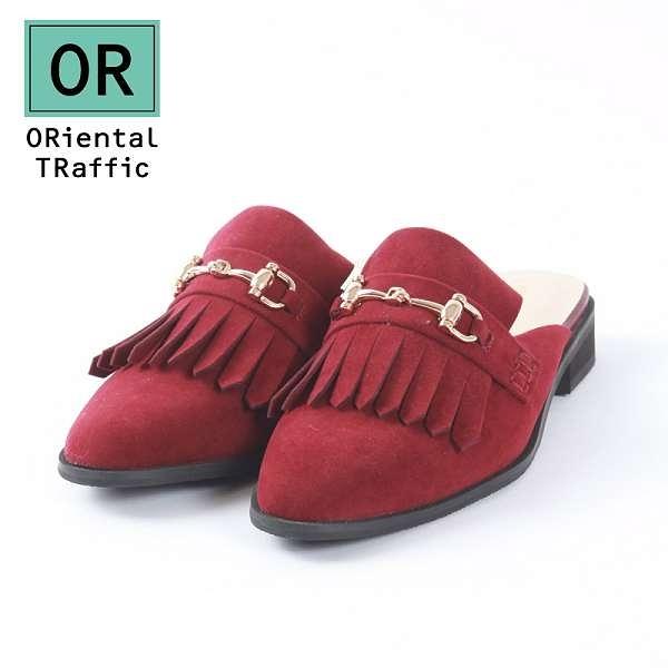 【ORiental TRaffic】經典流蘇金屬釦飾便鞋-復古紅