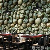 壁紙 中式立體3D復古仿古文化石塊石頭紋巖石壁紙餐廳咖啡廳背景墻墻紙 綠光森林
