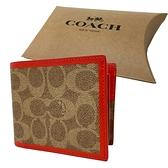 【COACH】C LOGO配色8卡活動證件夾男短禮盒(焦糖/橘)