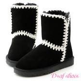 雪靴 D+AF 好感滿分.毛線針織2way真皮中筒雪靴*黑