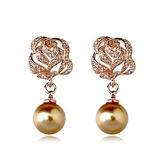 耳環 玫瑰金 925純銀鑲鑽-玫瑰花珍珠生日情人節禮物女飾品2色73gs46【時尚巴黎】