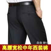 大尺碼西褲中年西褲男寬鬆大尺碼高腰中老年西裝褲爸爸西服褲商務正裝