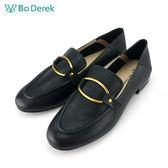 【Bo Derek 】金屬方扣環樂福鞋-黑色