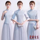 中式伴娘服 女長款復古姐妹團禮服裙2019新款中國風旗袍晚禮服 BT4269【花貓女王】