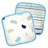奇哥 純棉紗布方巾-藍(2入)河馬 150元