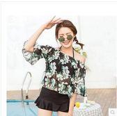 中大尺碼 女保守遮肚裙式平角三件套大顯瘦沙灘分體泳衣SQ1310『伊人雅舍』