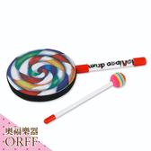 小叮噹的店-ORFF 奧福樂器 高品質 6吋七彩棒棒糖鼓(含鼓棒) BBTG-15CM 兒童樂器 打擊樂器