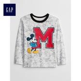 Gap x Disney男嬰幼童 迪士尼系列米奇長袖T恤 496451-光感亮白