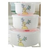 保鮮碗三件套陶瓷保鮮盒泡面碗帶蓋飯盒卡通飯碗骨瓷微波爐便當盒WY【全館免運】